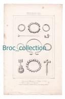 Bijoux Gaulois, Anneaux Et Bracelets, Fibule, Clef En Bague... Gravure D'Augustin François Lemaître, Vanderburch, Muret - Estampes & Gravures