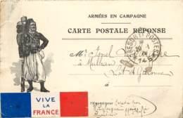 CARTE POSTALE FRANCHISE MILITAIRE - ZOUAVE - Vignette - Tricolore Rapportée - Militaria