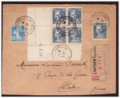 N° 295 En Bloc De 4 Coin Daté + 1 + 140  Sur Lettre Rec. De LIMOGES  Pour DOLE Du 26.5.34.. - Briefe U. Dokumente