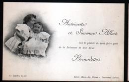 45, Courtenay, 1908 Faire-part De Naissance De Bernadette Allart, Saint Anne Les Chenes - Courtenay