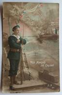 CPA Carte Patriotique Nos Marins En Orient Guerre 14-18 Tampon Bureau Recrutement Du Mans Villette Céaucé - Guerre 1914-18