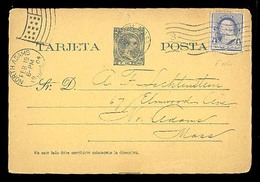 PUERTO RICO. 1904. Entero Postal 2c.Alf.XIII Peso Azul (Periodo Español). Usado Desde Boston/USA Con Franqueo Adicional. - Puerto Rico