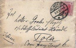 BM389 Briefkuvert Ganzsache Wien - Pola 1907, Frankiert ANK 134, Poststempel Wien, Rückseitig Stempel POLA - Covers & Documents