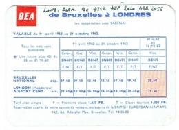 Time Table. Horaire Aviation : BEA. Bruxelles-Londres, 1962. - Horaires