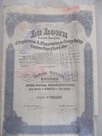 La Lowa  - Congo Belge Et Pays D'outre-mer - Anvers - 50 00 Titres - Le Titre De La Fondation De La Société - Afrique