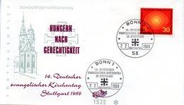 """BRD Schmuck-FDC: """"14. Deutscher Evangelischer Kirchentag"""", Mi.595 ESSt 7.7.1969 BONN 1 - FDC: Enveloppes"""