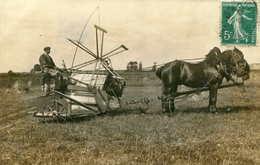 CARTE PHOTO ATTELAGE Agricole : Lieuse Batteuse ? Cheval   628 - Attelages