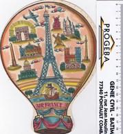 """AIR FRANCE Montgolfiére Cartonnées D'aprés """" TUDEAU """",,avec Tour EIFFEL ,, Notre Dame ,,sacré Coeur ETC... - Advertisements"""