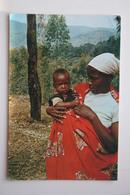 Burundi. Old Postcard - Traditional Costume - Native Woman With Child - Burundi