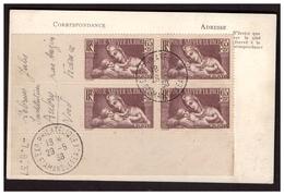 N°356 En Bloc De 4 Coin Daté  Sur CP De St AMAND Les EAUX  Pour AUBRY Du 29.5.38. - Covers & Documents