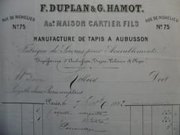 FACTURE ILLUSTRÉE DUPLAN & HAMOT MANUFACTURE DE TAPIS A AUBUSSON - Other