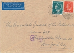 Nederlands Indië - 1941 - 2 Gulden En 10 Cent Konijnenburg Op LP-cover Van LB PADANGSIDEMPOEAN Naar New York / USA - Indes Néerlandaises