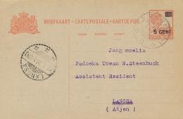 Nederlands Indië - 1930 - 5 Op 12,5 Cent Wilhelmina, Briefkaart G42 Van LB PAINAN Naar LB LANGSA - Indes Néerlandaises