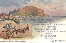 PALERMO Weinen's Hotel De France  AVEC MENU MANUSCRIT DU 22 FEVRIER 1908  Très Bon état - Palermo