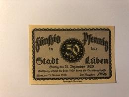 Allemagne Notgeld Luben 50 Pfennig - [ 3] 1918-1933 : République De Weimar