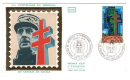FDC France 1977 - 5e Anniversaire Mémorial Général De Gaulle - YT 1941 - Colombey Les Deux églises - FDC