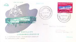 LUXEMBURG : FIRST DAY COVER, 16-04-1958 : EXPOSITION INTERNATIONAL DE BRUXELLES - Luxembourg
