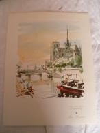 Air France Menu Diner Ligne Paris - Le Caire 1954 , Cathédrale Notre Dame - Menu Cards