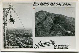 VILLA CARLOS PAZ, SIERRAS DE CORDOBA, ARGENTINA. AEROSILLA MULTIVISTA FOTO PHOTO CIRCA 1950's SIZE 9X14 CM- LILHU - Lugares