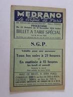 Ticket D'Entrée - Medrano, Boum Boum, Le Cirque De Paris - Billet à Tarif Spécial, S.G.P. - Tickets D'entrée