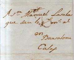 Prefilatelia Año 1788 Carta Sitges A Calaf  Marcas   Porteo 6 - ...-1850 Prefilatelia
