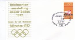 Germany 1972 Olympic Games München - Briefmarken Werben Für München -  Baden-Baden  (DD13-12) - Expositions Philatéliques