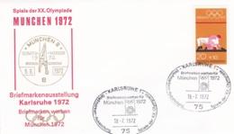 Germany 1972 Olympic Games München - Briefmarken Werben Für München -  Karlsruhe  (DD13-12) - Expositions Philatéliques