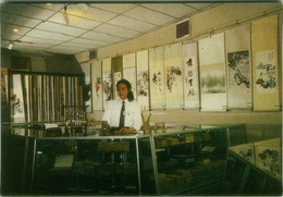 CHINA - BEIJING - WHITE PEACOCK ART WORLD - CHINESE STATIONERY - VINTAGE POSTCARD 1980s ( BG3190) - Chine