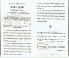 INGELMUNSTER / REKKEM - Doodsprentje Arthur DELIE (x C. BEEUSAERT) - Oud Gemeenteraadslid - °1887 En Overleden 1958 - Images Religieuses