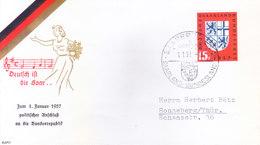 GERMANY, FEDERAL REPUBLIC : FIRST DAY COVER, 01.01.1957 : SAARLAND : DEUTFDJ IFT DIE SAAR.... , - [7] Federal Republic