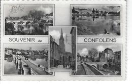 """16 - CONFOLENS - T.B.  Carte Fantaisie Multi Vues """" Souvenir De ...."""" - Grand Pont , Hôpital Ecoles , Manoir , Eglise - Confolens"""