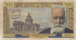 Billet 500 F Victor Hugo Du 2-9-1954 FAY 35.03 Alph. W.49 - 1871-1952 Anciens Francs Circulés Au XXème