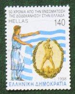 140 Dr 50th Anniv Of Incorporation Of Dodecanese  1998 Mi 1969 Y&T - Used Gebruikt Oblitere HELLAS GRIECHENLAND GREECE - Griechenland