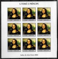 ST THOME ET PRINCE Feuillet N° 1870 * *   NON DENTELE  Tableaux Leonard De Vinci Joconde - Art