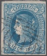 1866-133 CUBA SPAIN PUERTO RICO. ISABEL II. 1866. 10c FALSO FILATELICO, PHILATELIC FORGERY. PARA ESTUDIO. - Cuba