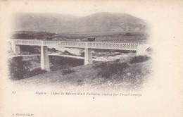 ALGERIE.. CPA. LIGNE DE MENERVILLE A PALESTRO.  VIADUC SUR L'OUED ASSETFA. PASSAGE D'UN TRAIN - Algeria