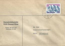 """Motiv Brief  """"Gemeindekanzlei Domat/Ems""""         1970 - Svizzera"""