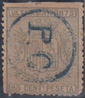 1875-92 CUBA SPAIN PUERTO RICO. REPUBLICA. 1875. Ed.32. PC POSTMARK USE IN SHIP TO US. - Cuba