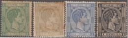 1876-124 CUBA SPAIN PUERTO RICO. ALFONSO XII. 1876. Ed.35-38. COMPLETE SET, NO GUM. - Cuba