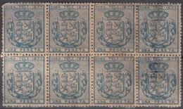 1877-82 CUBA SPAIN. ALFONSO XII. TELEGRAPH, TELEGRAFOS. 1877. 1pta. Ed.38. BLOCK 8, NO GUM. - Cuba
