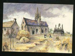 Saint-Jean-Trolimon (29) : Calvaire Et Chapelle De Tronoën, Aquarelle Originale De Robert Lepine - Saint-Jean-Trolimon