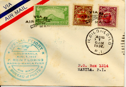 1932 Vuelo Madrid-Manila. Etapa ILoilo-Manila. Varias Marcas Y Llegada Al Dorso. Ver 2 Scan - Storia Postale