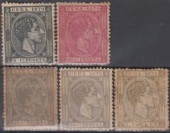 1879-116 CUBA SPAIN. ALFONSO XII. 1879. Ed.50, 52-55. NO GUM. - Cuba