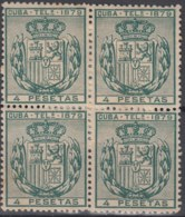 1879-117 CUBA SPAIN. ALFONSO XII. TELEGRAPH, TELEGRAFOS. 1879. 4 PtaS. Ed.48. BLOCK 4, NO GUM. - Cuba