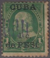 """1899-345 CUBA US OCCUPATION 1899. 1c. """"O"""" DE """"PESO"""" PARTIDA. RARE. - Prephilately"""