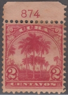 1899-351 CUBA US OCCUPATION 1899. 2c. PALMITAS, PLATE NUMBER UNUSED NO GUM. - Prephilately
