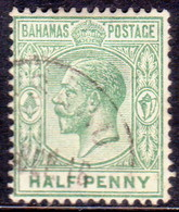 BAHAMAS 1912 SG #81a ½d Used Yellow-green Wmk Mult.Crown CA CV £17 - 1859-1963 Crown Colony