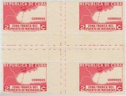 1936-319 CUBA REPUBLICA. 1936. 2c ZONA FRANCA MATANZAS. CENTER OF SHEET, NO GUM - Prephilately