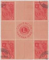 1940-281 CUBA REPUBLICA. 1940. Ed.338. LION CLUB, CLUB DE LEONES CENTRO DE HOJA, CENTER OF SHEET. USED. - Prephilately