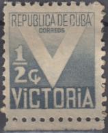 """1944-106 CUBA REPUBLICA. 1944. MNH. Ed.8. SEMI POSTAL  SOBRETASA 1/2c """"V"""" VICTORIA WWII. - Prephilately"""